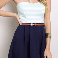 STRAPLESS STRIPE TOP DRESS