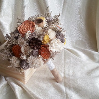 BIG cream ivory brown orange yellow rustic autumn fall wedding BOUQUET sola flowers roses, limonium lotos pine cones bell cup Burlap Handle