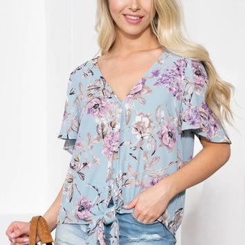 Button Up Floral Spring Knot Top