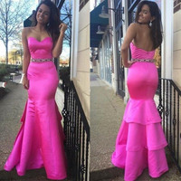 Hot Pink Satin Mermaid Prom Dresses,Prom Dress