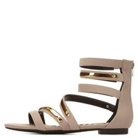 Qupid Strappy Ankle Cuff Gladiator Sandals by Charlotte Russe - Taupe