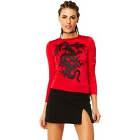 Red Dragon Long Sleeve T Shirt