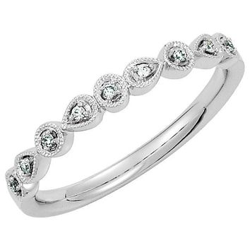 14K White Gold .04 CTW Diamond Ring Stackable