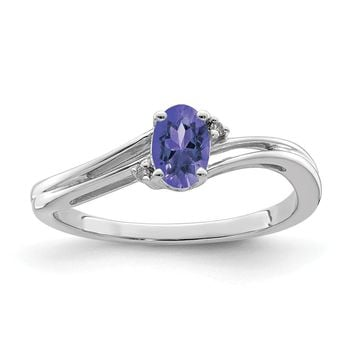 925 Sterling Silver Rhodium-Plated Diamond and Tanzanite Oval Ring