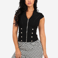 Black Zip Up Corset with Button Detail