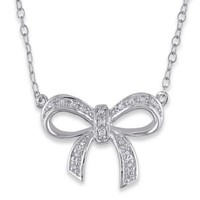 Sonatina Sterling Silver .05 cttw Diamond 17-Inch Chain Bow Pendant Necklace