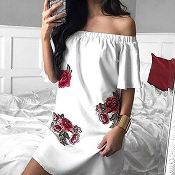Casual White Floral Print Embroidery Boat Neck Flare Sleeve Off-shoulder Mini Dress
