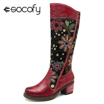 Socofy Vintage Patchwork Western Cowboy Boots  Bohemian Genuine Leather