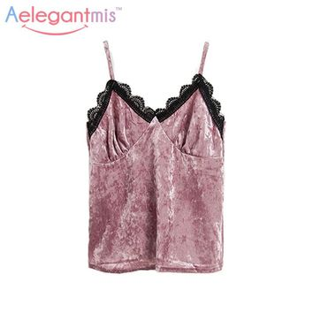 Aelegantmis Sexy Lace V Neck Velvet Halter Tops Women Camis 2017 Fashion Sleeveless Slim Velour Camisoles Ladies Pink Tank Tops