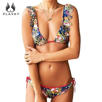 Sexy Ladies V Neck Floral Hollow Out Thong Bikini Ruffled Swimsuit Swim Wear Bathing Suit Swimwear Women Bikini
