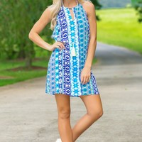 Full Of Dreams Blue Print Shift Dress
