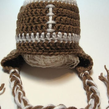 Newborn football ear flap hat.  Ready to ship.  Great photography prop.