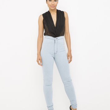 HUG THE CURVE HIGH WAIST SKINNY JEANS - CHARCOAL BLUE