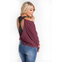 Lodene Surplice Back Top (Burgundy)