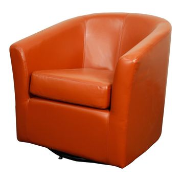 Hayden SWIVEL Bonded Leather Chair, Pumpkin