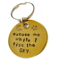 Personalized keychain, Custom key ring, Jimi Hendrix, Excuse me while I kiss the sky, gift ideas, boyfriend, hippie