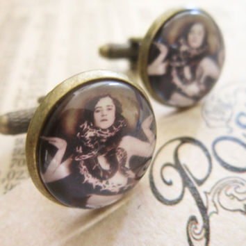Steampunk Cufflinks Victorian Circus Snake Lady by DubiousDesign