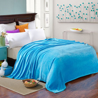 Sky Blue Fleece Blankets on the Bed/Sofa Super Soft Couch Throw Blankets Adult Sleeping Blanket Brand Lightweight Travel Blanket