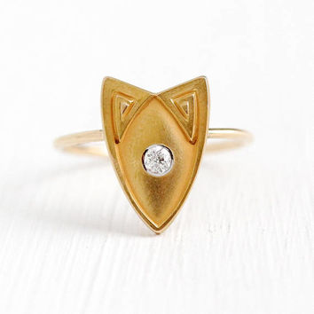 Antique Diamond Ring - 14k Rosy Yellow Gold Stick Pin Conversion - Size 6 Vintage Edwardian Era 1910s Cat Inspired Shield Fine Jewelry