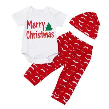 3PCS Autumn Spring Newborn Baby Boys Girls Short Sleeve Letter Tops Romper+Beard Red Pants Hat Outfits Set Christmas Clothes