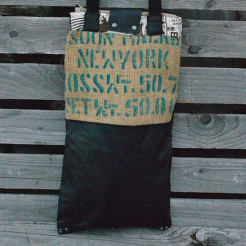 Burlap and Leather Tote Bag - Women's Bags - Leather Tote - New York - Coffee Tote