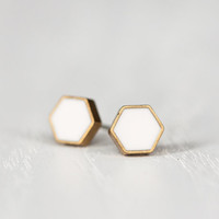 Mini Hexagon Post Earrings in White - Hypoallergenic Studs