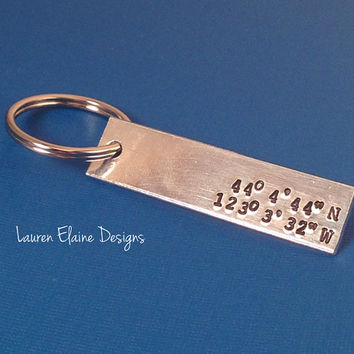 Custom Hand Stamped Latitude, Longitude Keychain- Personalize with Your Own Coordinates, and Font Choice
