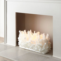 Selenite Fireplace Sculptures