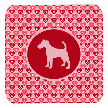 Set of 4 Fox Terrier Smooth Valentine Hearts Foam Coasters