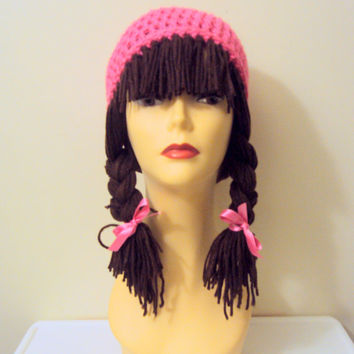 Wig Hat Yarn Hat Crochet Funky Hat Short Braid Pigtails Festival Hat Women Fashion Accessories Breast Cancer Awareness Gift Ideas