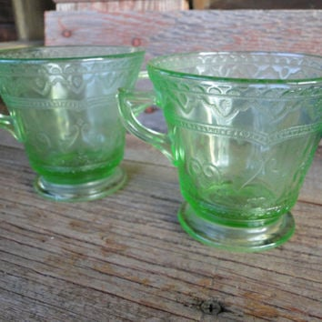 Vintage green depression glass Federal Glass Patrician sugar and creamer, green depression glass Spoke dishes 1930's uranium vaseline glass