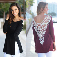 Lace Back Long Sleeve Slit T-Shirt