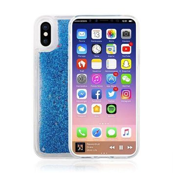CREYON iPhone X Case,Bling Sparkle Shiny Moving Quicksand Slim Fit Cute Clear TPU Bumper Protective Phone Cover Case