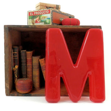 Red Letter M Vintage 60's Salvaged Lettering