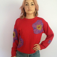 Women's Red Vintage Sweater with Purple Flower Detail