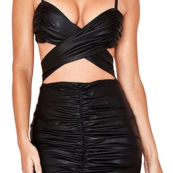 Party Hard Black PU Faux Leather Sleeveless Spaghetti Strap V Neck Cut Out Ruched Ruffle Bodycon Mini Dress