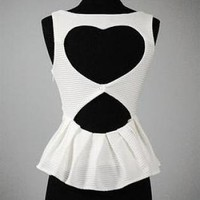 White Textured Peplum with Heart Back & Cutout Detail