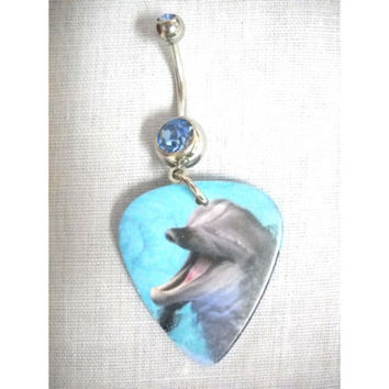Wild Photo DOLPHIN Ocean Mammal Fun Flipper 2 Sided Printed Guitar Pick Double Dazzling Baby Blue CZ Stone Belly Ring Body Piercing Jewelry