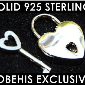 SALE! 925 Solid Sterling Silver Functional Working Heart Shape Padlock Lock & Sterling Key BDSM Slave Bondage Collar Reg 149.95