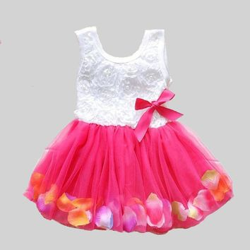 Summer  Cotton Baby Infant Fairy Tale Petals Colorful Dress Chiffon Princess Newborn Baby Dresses Gift