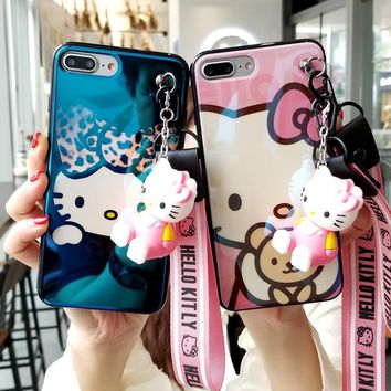 For iPhone X Hello kitty case, Cute KT Soft back cover For iPhone 8 8plus 7 7plus 6 6S 6Splus blue ray phone cover + toy +StrapS