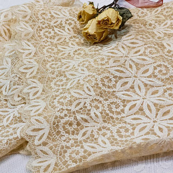 Embroidered Mesh Table Runner, Dresser Scarf, Dressy Shawl, Dense Floral Embroidery, Scalloped Edges, Shabby Chic Deco, Vintage Linens