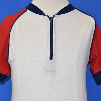 80s Red, White And Blue Half Zip t-shirt Youth Small