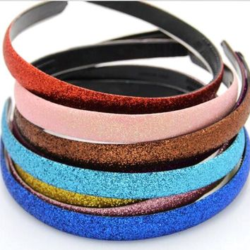 60pcs/lot 15 colors Glitter Girls Hair Clasp Headband For Women Satin Plastic Non-slip Glitter Hair Band Hair Band Head Hoop