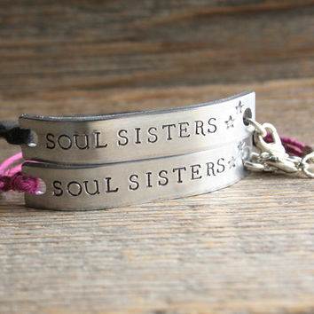 Set Of 2 Friendship Bracelet Soul Sisters Hand Stamped Quote Wit