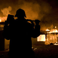 Firefighter-Burning House Art Print by Maureen Bates Photography