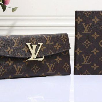 ESBONS Louis Vuitton' Women Classic Logo Letter Lock Multifunction Long Section Purse Flip Wallet