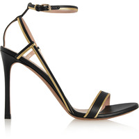 Valentino - Metallic-trimmed leather sandals