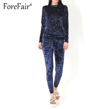 Forefair 2 Piece Outfits Pleuche Velvet Jumpsuit Romper Womens Winter Casual Tracksuit Set (Long-Sleeve Tops + Drawstring Pants)