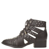 Dollhouse Cut-Out Lace-Up Booties